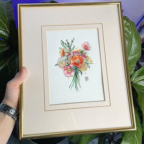 Floral Bouquet Original Watercolor Painting
