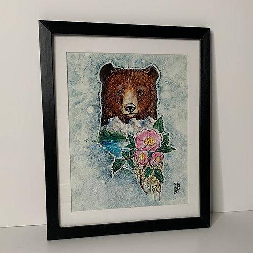 "PICK UP ONLY - Framed Alberta Bear - 10.5""x12.5"""