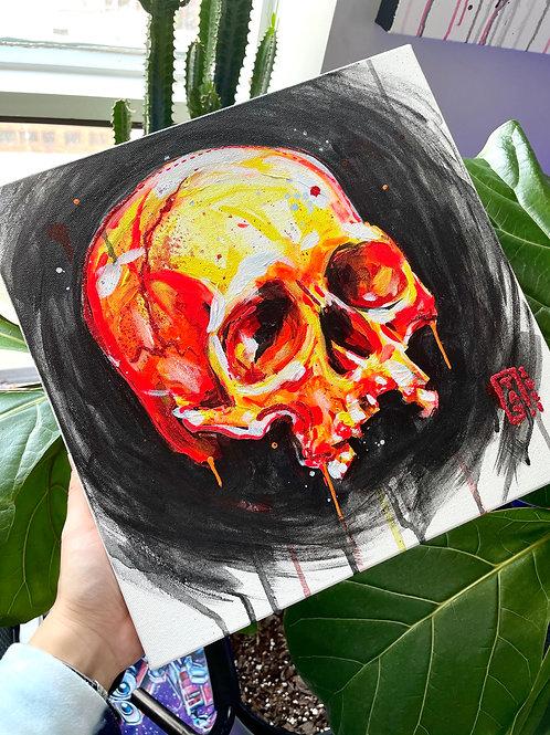 Red Fire Skull Original Painting