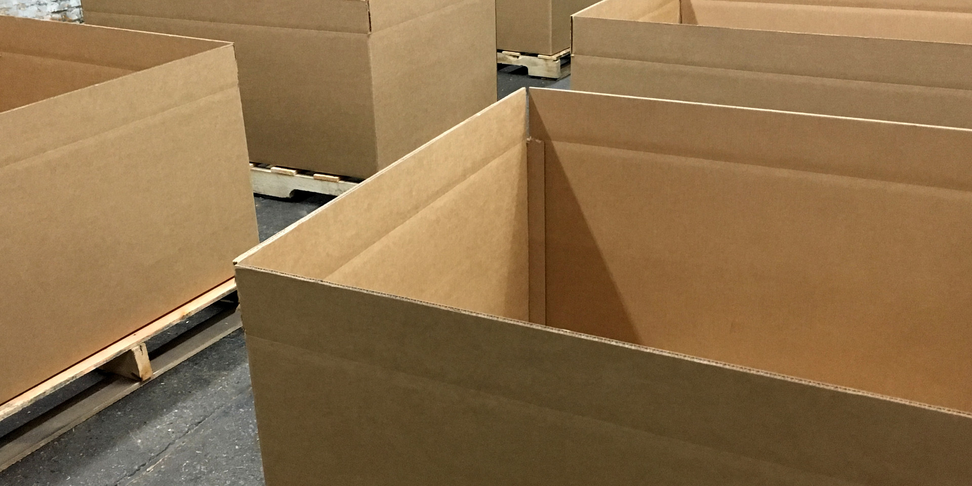 pallets with boxes