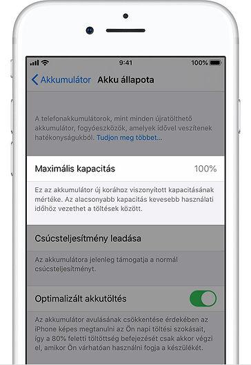 iPhone akkumulátor kapacitás ellenőrzése
