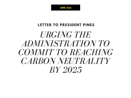Letter to President Pines Urging His Commitment to Reaching Carbon Neutrality by 2025