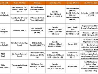 2018-2019 Korean Credit Courses for High School Students