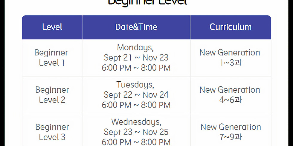 [Online] Beginner 1 - Monday