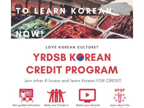 YRDSB Korean Credit Program - Online