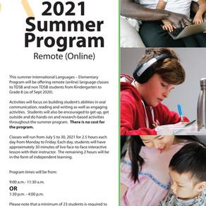 2021 TDSB Summer Online International Language Elementary: Korean (JK-G8)