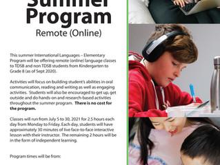 2021년도 토론토 교육청 여름 온라인 한국어 수업