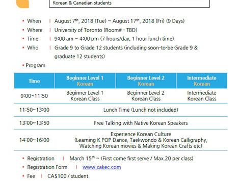 Korean Immersion Camp for Secondary Students