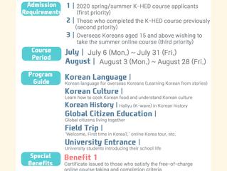 Korean Homeland Education (K-HED) 2020 Summer Online K-HED Program