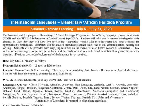 2020 TDSB Summer Online International Language Elementary: Korean (JK-G8)