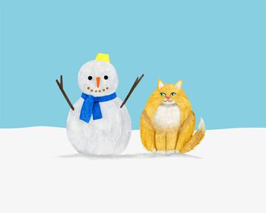 雪だるまとねこ