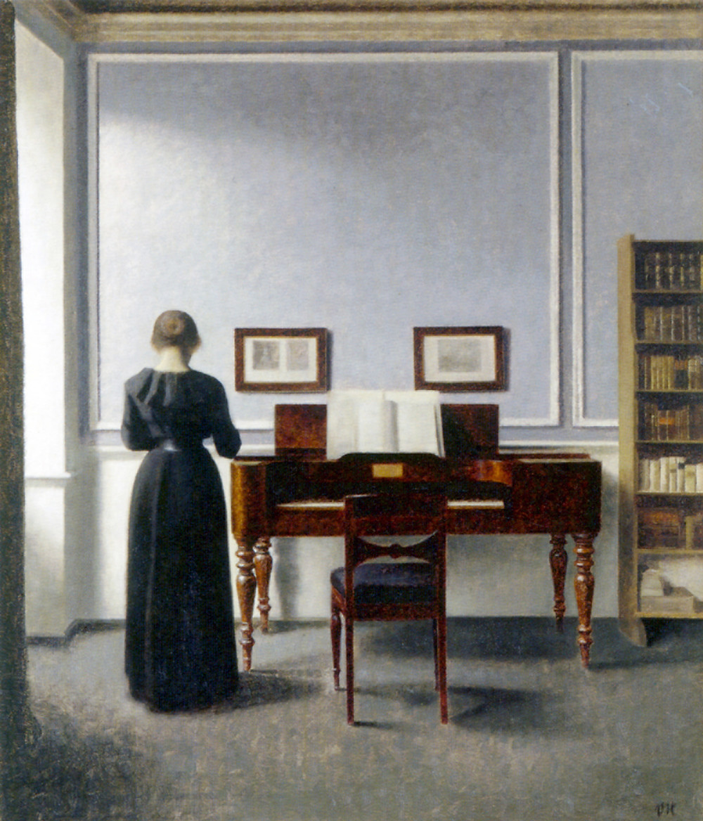 Vilhelm Hammershoi, Interior with piano and woman in black, 1901