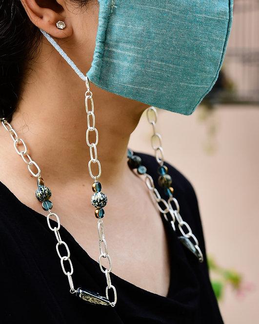 DENIM Metallic & Blue Paint-balls Necklace/ Mask Chain/ Eyeglass Chain
