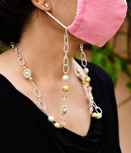 MODA Peach, Gold & Silver beads Necklace/ Mask/ Eyeglass Chain