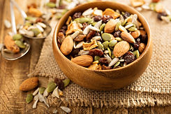 Dried fruit and nuts trail mix with almo