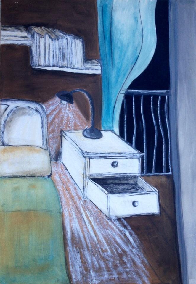 La camera. olio su carta 2015