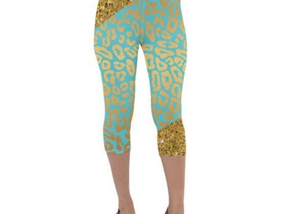 Fairlings Delight's Leopard Collection- Gold and Lime Sparkle Velour Capri 53086