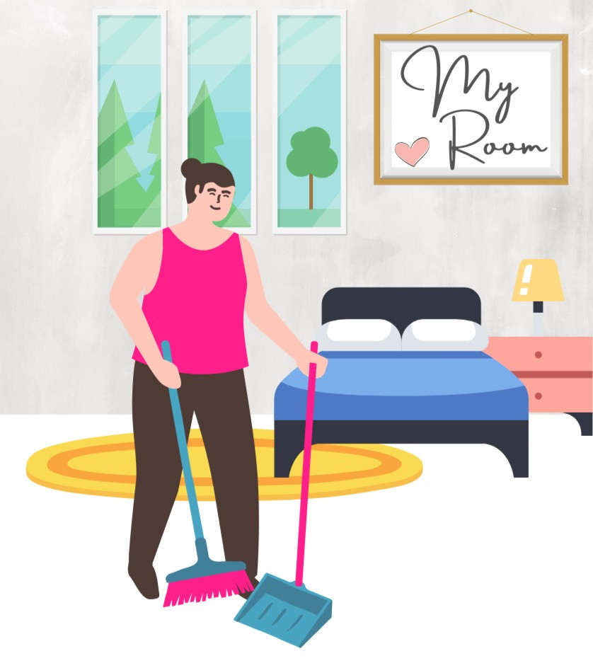 girl, woman, female sweeping the floor of room, my room, room rental in kuala lumpur, rent room in KL, malaysia, clean small room, manageable space, easy to sweep and clean, bedroom, blue blankets, cartoon, graphic, illustration