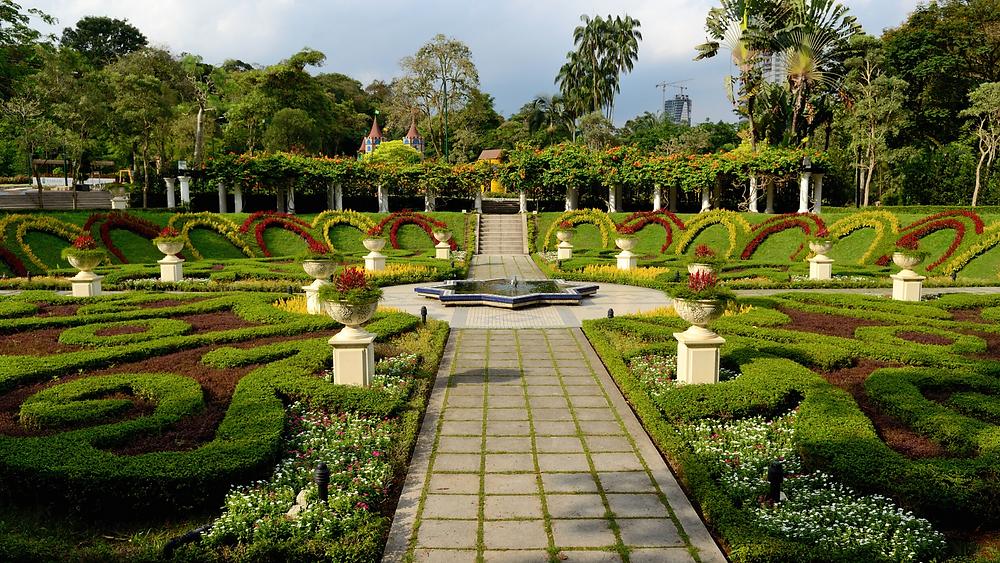 beautiful, stunning, green view of garden at perdana botanical garden or taman perdana botani in kuala lumpur malaysia, plants, grass, green, flowers, great landscape of nature in malaysia