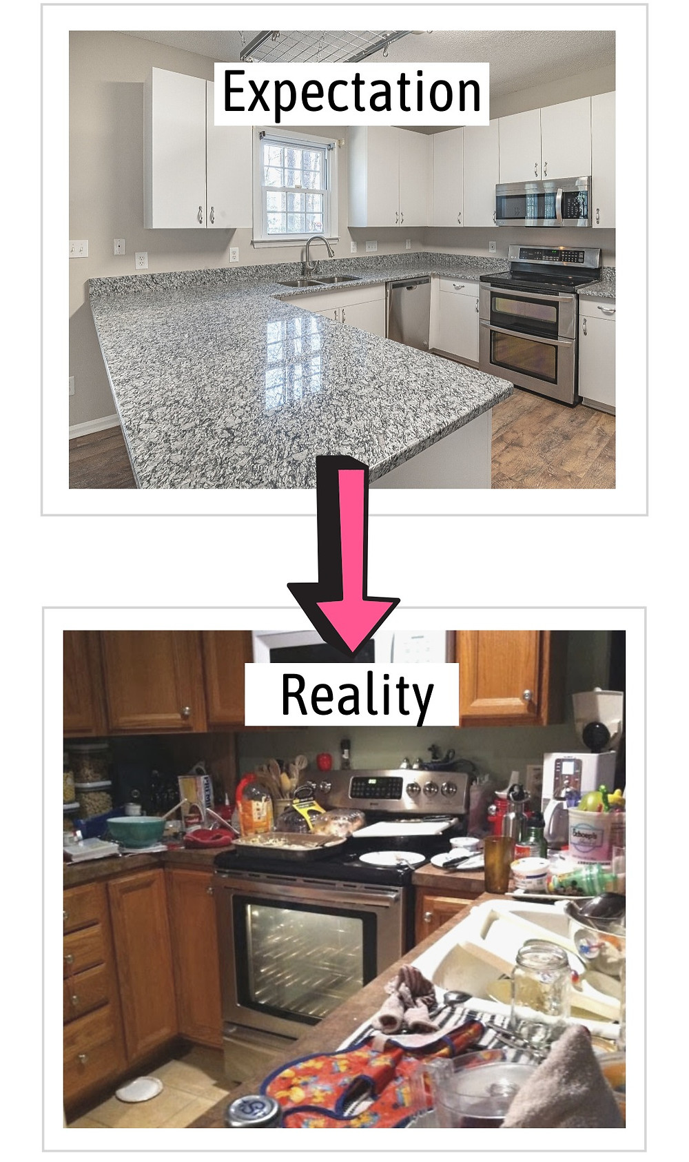 expectation versus reality rent with strangers dirty kitchen countertop floor messy rubbish leftovers all over the table