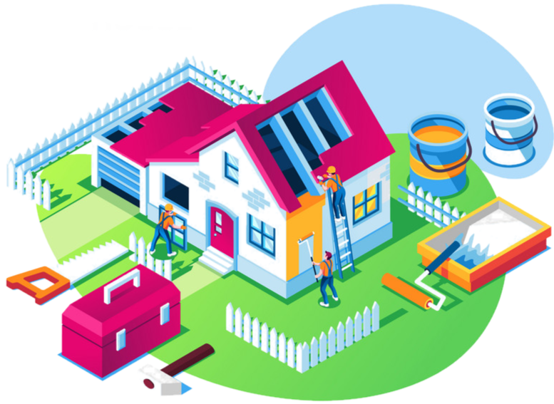 illustration, graphic photo of man repair house, house maintenance, 3d graphic, cartoon bungalow house, paint, fix, toolbox, tools