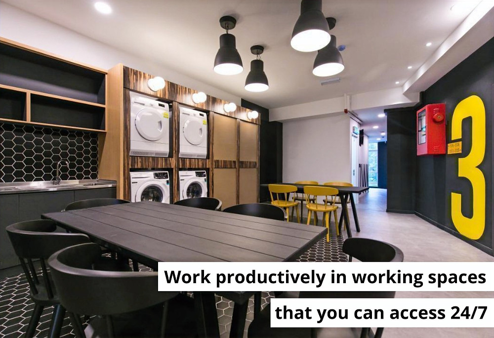 working space with laundry free, rent KL
