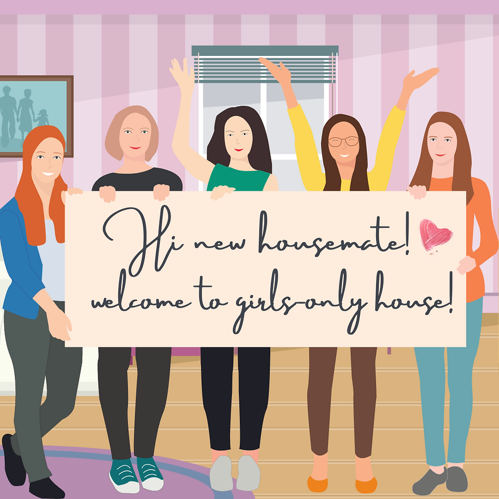 only-girls, female-only housemate, female-only house in kuala lumpur, malaysia, girls room only, muslimah friendly, cartoon girls, all female, surprise, welcome new friend, housemate in bedroom