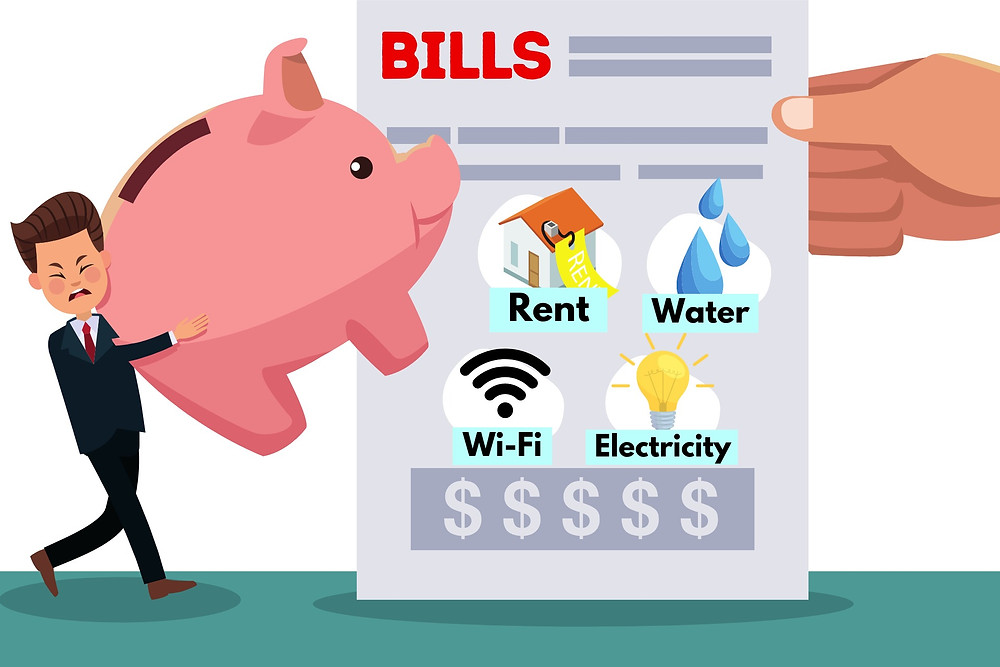 businessman holding piggy bank, frustrated, tired, heavy, pay bills all in one, all-inclusive fees, rental payment, water bill, wi-fi, electricity bills, utility bills, adult man pay bills individual