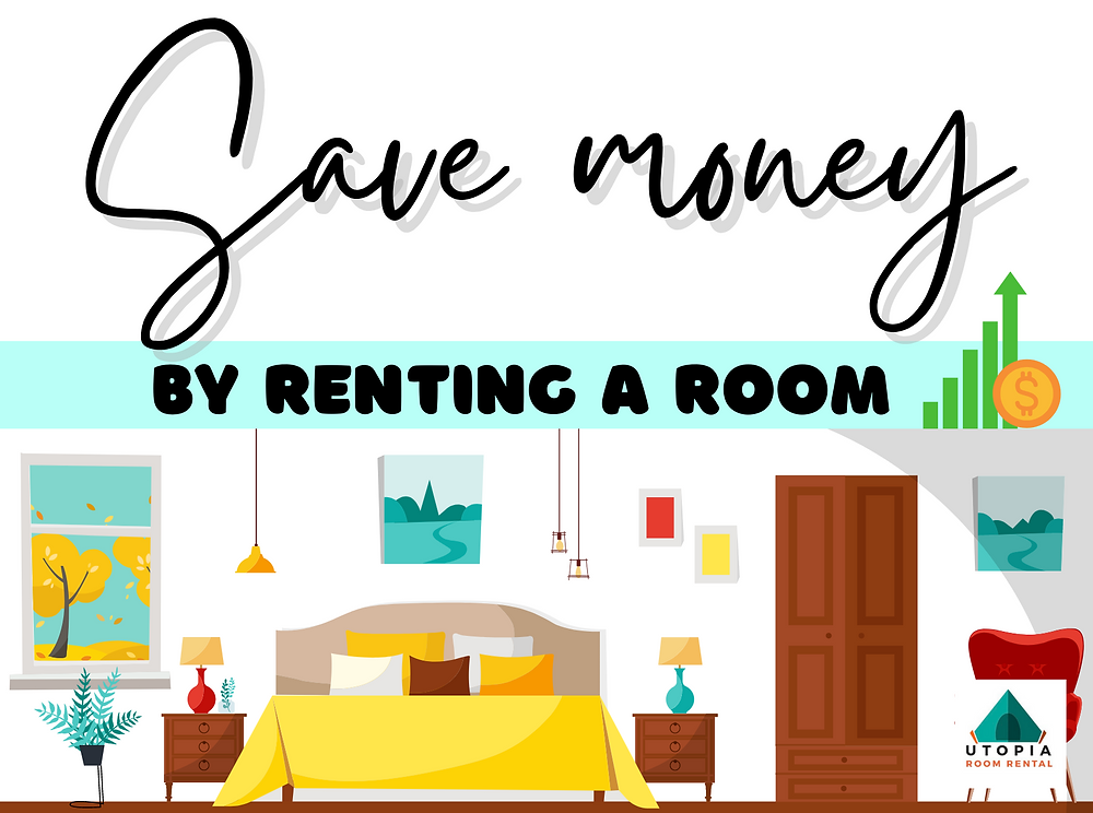 save money increase savings by room renting in kuala lumpur, utopia co-living, how renting can save money, tips to save money while room renting, master bedroom decorated in yellow, large clean minimalistic graphic bedroom, illustration, aesthetic bedroom cartoon picture, photo