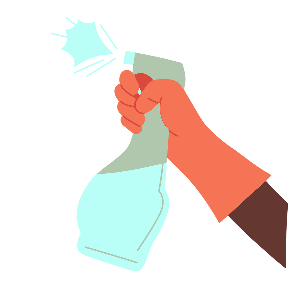 a person wearing gloves holding a spray bottle to clean surface, clean house daily, clean mirrors, tables, surfaces, windows