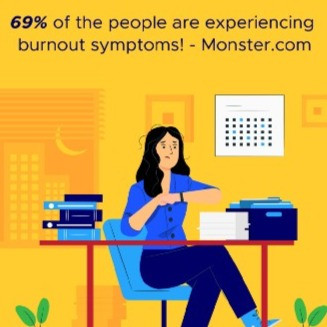 people experience burnout symptoms while working from home, stress, distress, female, woman, girl, lady sitting in office, sad, tension, distress, unhappy, tired, worry, anxious with a lot of work