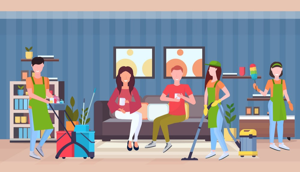 janitors, cleaners, cleaning agents, cleaning service clean house, clean living room for free, vacuum, dust, sweep, mop, free cleaning in common area room by cleaners when renting a room in Malaysia, couple sitting in living room while drinking coffee, holding a cup, sitting on couch, sofa