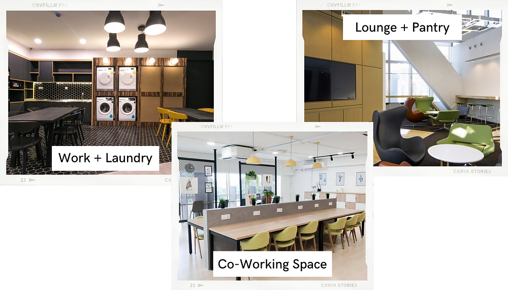 best co-working spaces in kuala lumpur, malaysia, lounge area with sofa, couch, bean bags, TV, pantry to eat while working, do laundry while working from home, online work in malaysia, office working space