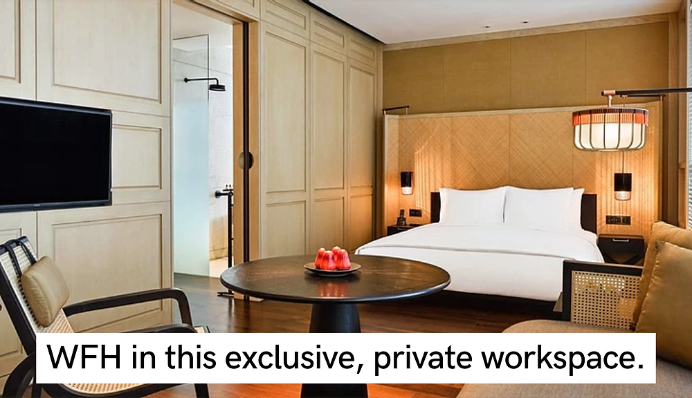 the ruma hotel and residences, work from home in malaysia, exclusive, private, luxurious studio hotel with large bedroom, table, TV, shower and aesthetic, luxurious decorations