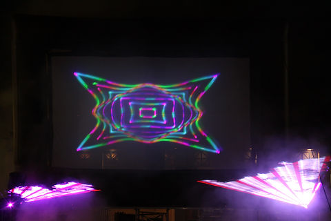 Outdoor laser show with screen in Austin Texas