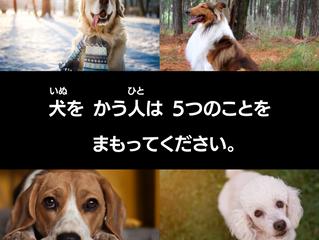 犬(いぬ)を かう人(ひと)は 5つのことを まもってください。