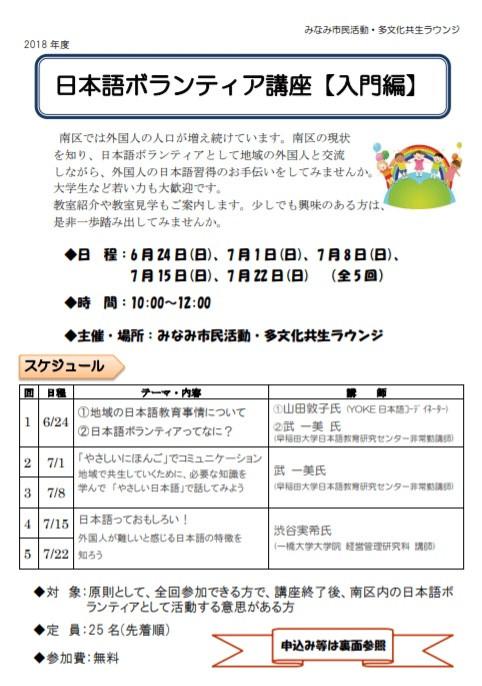 日本語ボランティア講座入門編