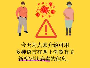 多种语言在网上浏览有关新型冠状病毒的信息