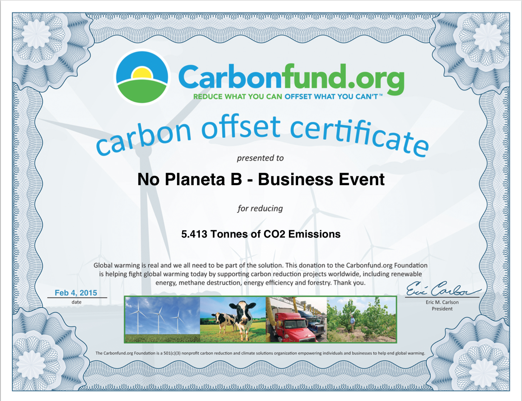 UCLIMATICA offset certificate