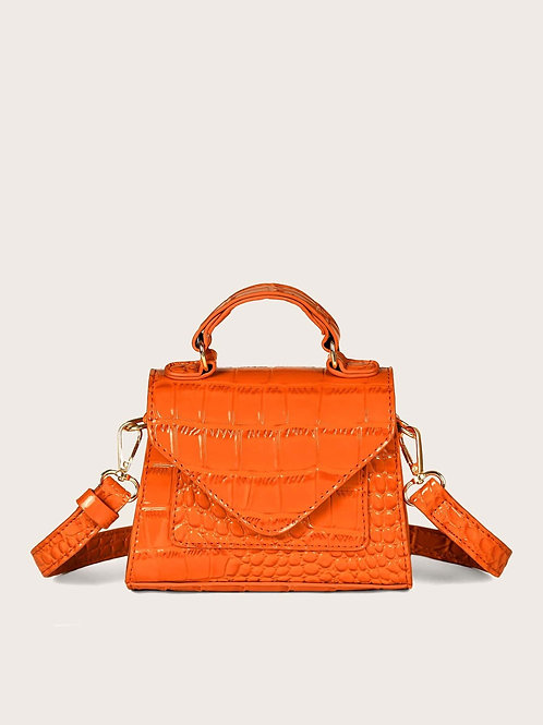 Orange Croc Cross Body