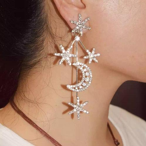 Crystal Moon & Starts Earrings