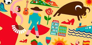 Arte com ícones da cultura espanhola