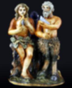 Urbino (Italie) groupe représentant un couple composé d'un fauneet d'une jeune femme joant de la musique. Ateier Patanazzi, vers 1575-1600.