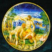 Urbino ou Castel-Durante (Italie), decor istoriato scène de la bataille de Cascina entre Florenceet Pise. Vers 1535-1545.