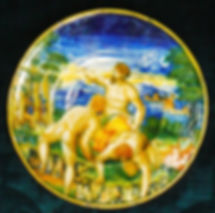 Urbino or Castel-Durante (Italy), dish istoriato of one episode of the war Cascina between Florence and Pise. Circa 1535-45.