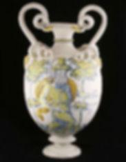 Faenza (Italie) vase a compendiario, Elie et Moïse, fin du XVIe ou début du XVIIe siècle.