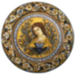Naples (Italie) grand plat d'un portrait de femme. XVIIIe siècle.