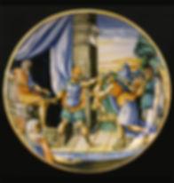 Urbino (Italie) coupe a istoriato le jugement de Salomon, daté 1551. Milieu du XVIe siècle.