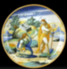 """Venise (Italie) coupe """"a istoriato"""" la résurrection. Milie du XVIe siècle."""