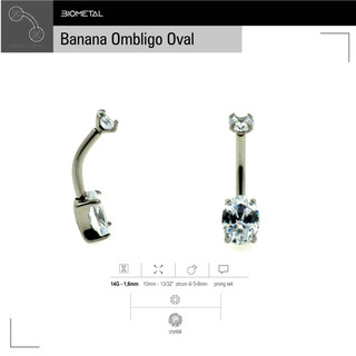 Banana Ombligo Prong Set Oval